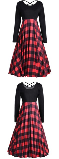 Criss Cross Plaid Dress   $12.98   Sammydress.com   #plaid #dress #vintage