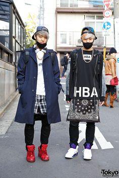 DJs Shu-P & Ryu-P on the street in Harajuku wearing Jeremy Scott, KTZ & Hood by Air.