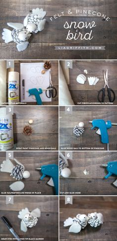 DIY Pinecone White Bird Christmas Tree Ornament Tutorial