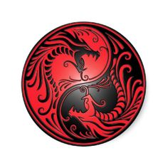 This stunning yin yang design features two stylized tribal dragons. Intricate lines and swirls decorate both sides of this traditional symbol creating a beautiful pattern. The two dragons flow from the bottom of the teardrop and have their mouths wide open in an aggressive stance. This unique yin yang makes a stylish sticker design.