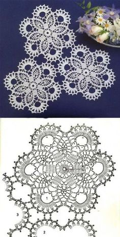 Crochet Ideas With Knitting Patterns - Diy And Crafts Crochet Doily Diagram, Crochet Motif Patterns, Crochet Chart, Crochet Squares, Thread Crochet, Crochet Designs, Crochet Stitches, Knitting Patterns, Crochet Ideas