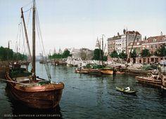 Het totaal andere Rotterdam van voor WO II   EnDanDit  Leuvehaven, waar de aanrijroute van de Erasmusbrug zich tegenwoordig bevindt: