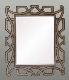 Espejo realizado en hierro forjado envejecido con pan de oro. Tamaño aprox.: 83x98 cm
