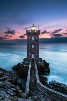 Kermorvan lighthouse in Finistère, France. Marking the harbor of Le Conquet.