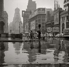 New York, March 1943. Times Square on a rainy day.