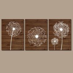 DANDELION Wall Art, Dandelion Wood Effect, Dandelion Nursery Art Canvas or Prints Farmhouse Bedroom Wall Decor, Bathroom Decor, Set of 3 Bathroom Decoration bathroom wall art decor Dandelion Nursery, Dandelion Wall Art, Dandelion Flower, Diy Wand, Cool Wall Art, Big Wall Art, Flower Artwork, Flower Wall, Flower Nursery