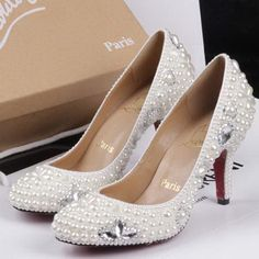 High Quality Women Red Bottoms Heels Christian Louboutin White Pearl Crystal Strass Round Toe Pump.jpg 520×520 pixels
