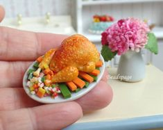 Miniature Roasted Chicken for 1:12 scale Dollhouse Diorama Roombox Dolls Food, DIY Craft Food Jewelry (see 'Item Details')