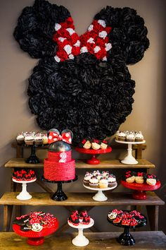 Molly Mesnick's daughter's party by Jenny Cookies.  (The Minnie Mouse backdrop is made from tissue poms that are squished together on a heavier black paper and hung with duct tape (but you could do fishing line off of a backdrop stand or a piece of beadboard).