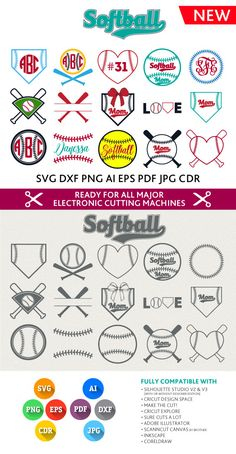 Softball SVG Cut Files - Monogram Frames SVG DXF Eps Silhouette Studio Png Pdf Jpg Ai Cdr cuttable files for Silhouette Studio, Cricut Cameo