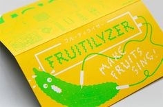 Packaging with fluorescent spot colour designed by Resort for fruit and vegetable based electronic music making kit Fruitilyzer