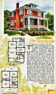 The Rochester Kit House Floor Plan made by the Aladdin Company in Bay City Michigan in 1920 Vintage