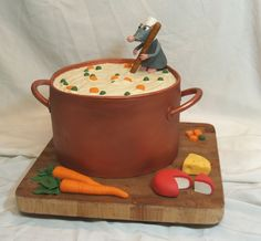 I got inspiration  from Ceshell's cake, thank you! Fondant sprayed with copper luster dust and BC soup, all veggies and cheese are fondant. TFL!