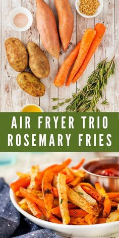 These Air Fryer Trio Rosemary Fries are perfect as an appetizer with your favorite dipping sauce, as a snack or a side dish with burgers, chicken or sandwiches. Meal Recipes, Quick Recipes, Side Dish Recipes, Yummy Recipes, Dinner Recipes, Easy Family Dinners, Easy Dinners, Healthy Sides, Healthy Side Dishes