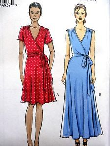 Vogue misses women mock wrap dress 2 lengths sewing pattern plus size 8 24 Dress Patterns Uk, Plus Size Patterns, Vogue Sewing Patterns, Clothing Patterns, Pattern Sewing, Apron Patterns, Clothing Ideas, Size Clothing, Trendy Dresses