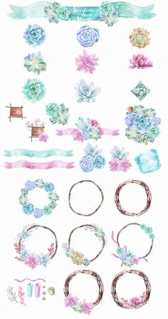 Watercolor Succulents & Wreath by Spasibenko Art on @creativemarket