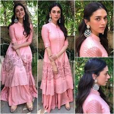 For an event in Chennai earlier today, Aditi Rao Hydari did an Indian look in Myoho. Her pink printed long kurta was paired with a ditzy printed lehenga skirt and was styled with a pair of statement Kurta Designs, Kurti Designs Party Wear, Blouse Designs, Pakistani Dresses, Indian Dresses, Indian Outfits, Indian Designer Outfits, Designer Dresses, Organizer Box