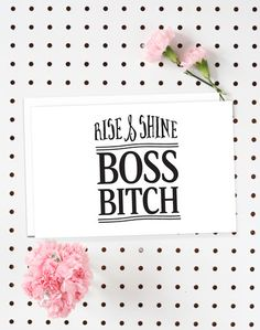 4-Pack of Flat Notecards - Stationery with Envelopes - Rise & Shine Boss Bitch