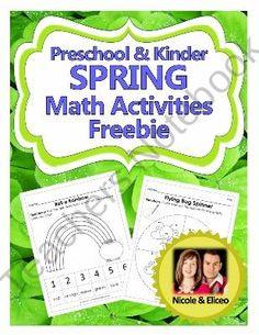 Preschool and Kindergarten Common Core Spring Math Activities Freebie from NicoleAndEliceo on TeachersNotebook.com (8 pages)