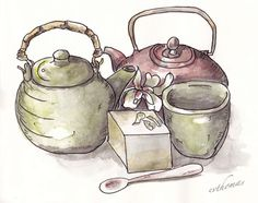 Chinese teapot collection using Steven Reddy Grisaille method ink washes