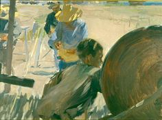 """ETAPA DE CONSOLIDACIÓN (1889-1899). """"CORDELEROS DE JÁVEA"""", 1898. Ejecutado en 1898, aunque esté firmado un año antes. Pertenece a su costumbrismo marinero, aunque esté tratando la manufactura del cordel, y en el mismo podemos apreciar como ha avanzado en el tratamiento de la luz, manchando a retazos de luces y sombras, que anuncian la manera posterior de pintar el artista: su luminismo."""