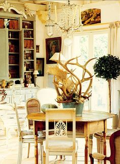 Antler centerpiece. I could put all those antlers Billy has to good use.