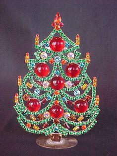 VIBRANT Vintage Czech Art Deco Rhinestone Free Standing Christmas Tree #6 | eBay