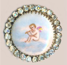 Transfer Cherub on Porcelain with paste border