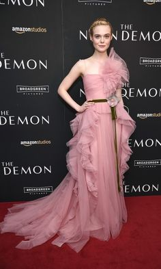 June 22, 2016: Elle Fanning stole the show in a pink ruffled Gucci gown during The Neon Demon premiere in NYC. - HELLO! US