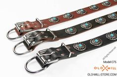 Cool Leather Dog Collar - Available colors: Black, Brown, Tan