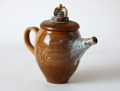 Teapot / Ceramic Teapot / Gold Luster / Herbal by MadAboutPottery, $35.00