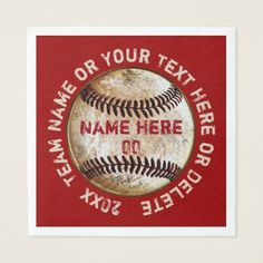 Vintage Baseball Napkins with Your COLORS and TEXT  sc 1 st  Pinterest : baseball paper plates - pezcame.com