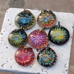 Glass Flower Pendant Borosilicate Boro Lampwork by Venbead on Etsy