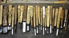 Tools for wood carving, Mr.Toru Kaizawa, Ainu