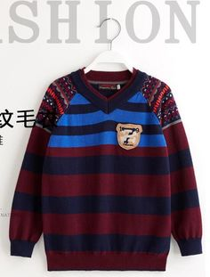 New Baby v-neck Cotton knitted sweater boys Color matching Knitting jacquard stripe Sweaters Brand clothing wholesale