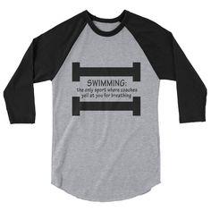 Swimming & Breathing 3/4 sleeve raglan shirt by BeanHomeandGarden on Etsy