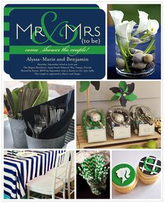 We love the nautical & preppy feel of navy blue & kelly green. Perfect for a couple's shower!