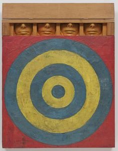 Target with Four Faces  Jasper Johns Target With Four Faces, Encaustic on newspaper and cloth over canvas surmounted by four tinted-plaster faces in wood box with hinged front 33 5/8 x 26 x 3 inches  Gift of Mr. and Mrs. Robert C. Scull. © 2012 #JasperJohns / Licensed by VAGA, New York, NY, Collection The Museum of Modern Art, New York