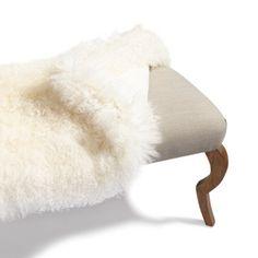 Mongolian Sheep Fur Cover For Scarlett Bench - Windsurf - Grandin Road Grandin Road, Fancy Hats, Fantasy Dress, Windsurfing, Sheep Wool, Flamingo, Mineral, Ottoman, Cover