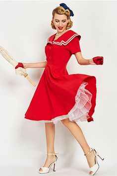 Get ready for the vintage cruise in our Atomic Red Sailor Swing Dress. https://atomicjaneclothing.com/products/atomic-red-sailor-crew-swing-dress