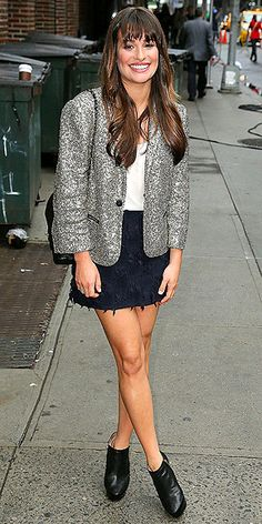 LEA MICHELE  Cheat on your staid black blazer with a glitzy one like Lea's. Just one word of advice: avoid looking like you came from a tap dance dress rehearsal by pairing the metallic topper with more subdued pieces, like a simple black skirt and a tee or a pair of skinny jeans.