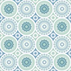 Darjeeing Chalkhill Blue (AZDPT021 Chalkhill) - Mini Moderns Wallpapers - An all over wallpaper design featuring various circular motifs with intricate detailing- perfect for that Retro feel! Shown here in chalkhill blue and white. Other colourways are available. Please request a sample for a true colour match.