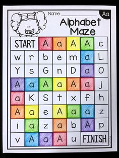 Alphabet maze worksheets. Students color the lower and uppercase letter a to make their way through the maze. This is great for letter identification and is suited to preschool and kindergarten students.