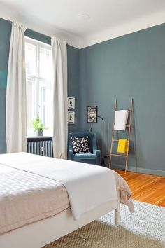 - Little House On The Corner Master Bedroom Makeover Reveal! Walls painted Inchyra Blue by Farrow & Ball Small Master Bedroom, Master Bedroom Makeover, Master Bedroom Design, Modern Bedroom, Trendy Bedroom, Master Bedrooms, Bedroom Designs, Modern Victorian Bedroom, Asian Bedroom
