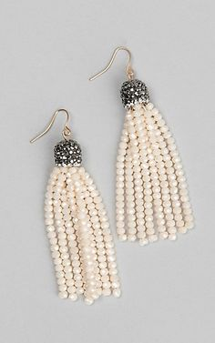 Grace and Emma Maya Beige Bead Tassel Earrings | Cavender's