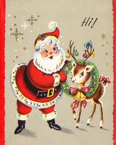 Santa & reindeer retro Christmas card.