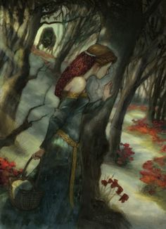 Little Red Riding Hood, graphite and digital color, by Kim Kincaid