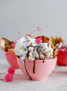 Crispy Croissant Sundaes with Red Wine Hot Fudge. I just want the Red Wine Hot Fudge! Köstliche Desserts, Wedding Desserts, Frozen Desserts, Frozen Treats, Delicious Desserts, Dessert Recipes, Yummy Food, Dessert Food, Bakery Recipes