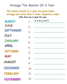 month of the year worksheet pdf