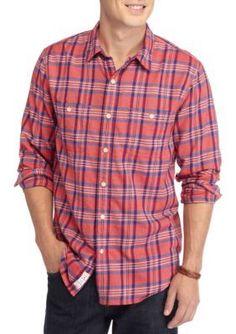 Lucky Brand RedBlue Plaid Mason Plaid Workwear Shirt